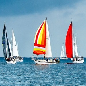 Crystal blue waters and open sky and four sailboats with red, orange and white sails