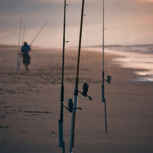 Long stretch of beach at sunset with several fishing poles sticking straight up out of the sand