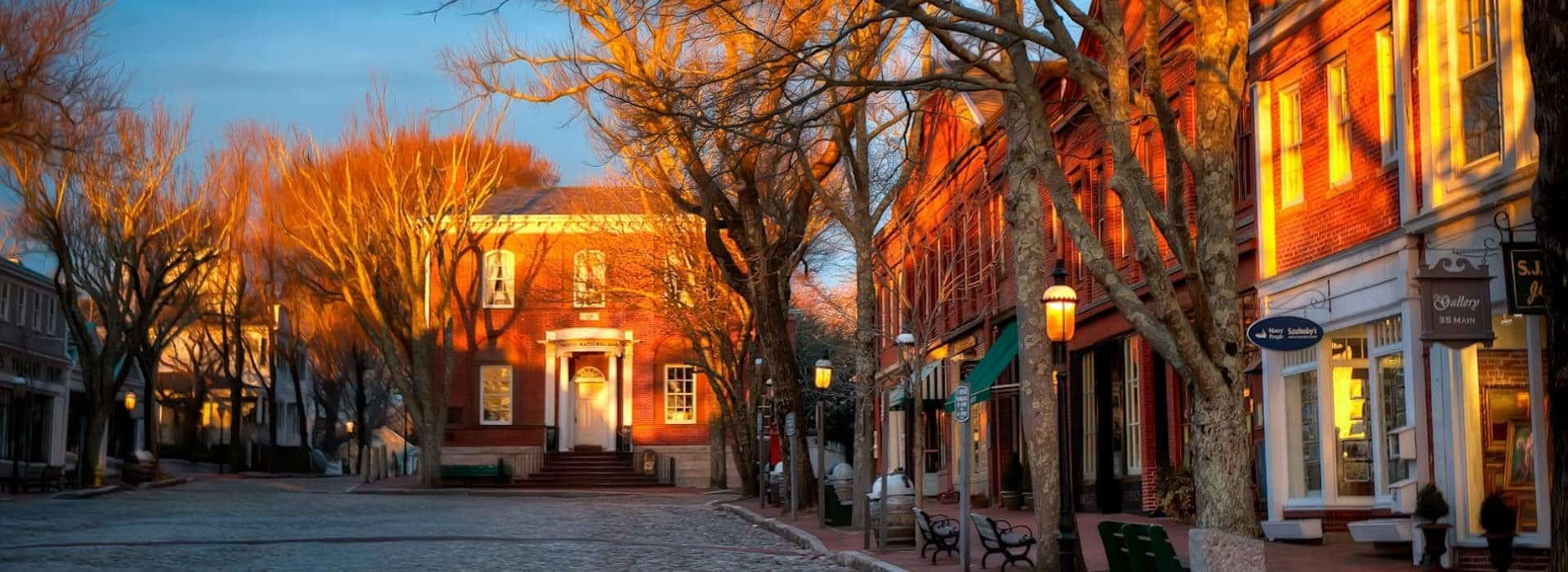 Store fronts in historical red bricked buildings with a cobblestone street surrounded by trees without leaves