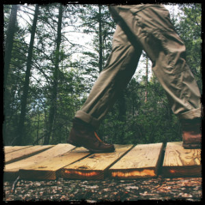 Man walking in hiking boots across a footbridge in a green wooded forest. Image by lacey-raper-361 www.unsplash.com